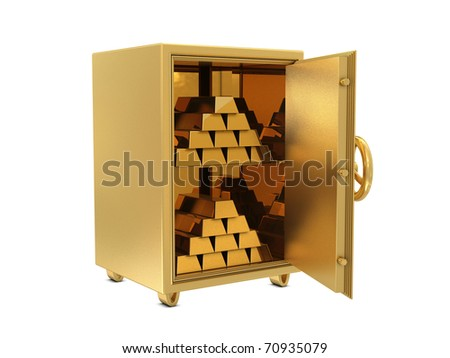 Golden safe deposit with golden bars isolated on white background