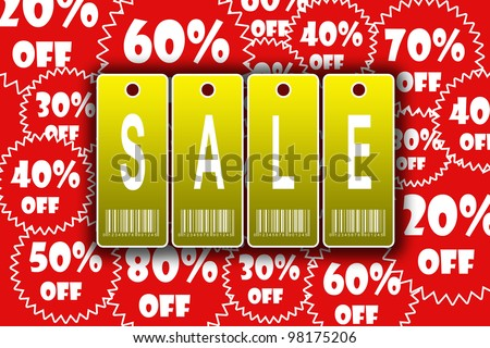 Golden sale tags advertisement on the red great discount background