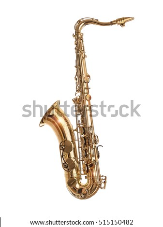 Golden Saxophone isolated on a white background.