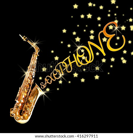 Golden saxophone with stars coming out against black background