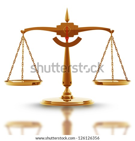 Golden scale isolated on white background High resolution 3d render