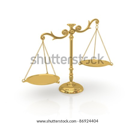 Golden scales.3d rendered.Isolated on white background.