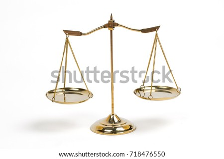 Golden scales of justice for lawyer courtroom decoration.