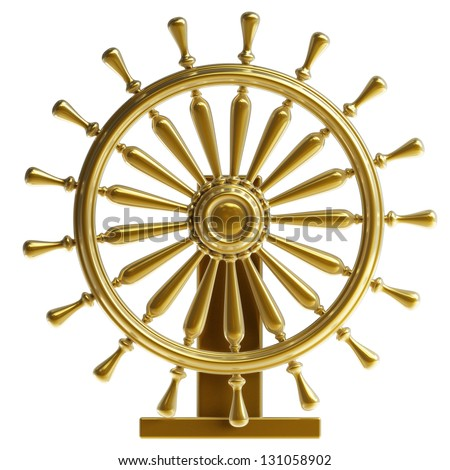 Golden sea steering-wheel isolated on white background High resolution 3d render