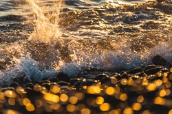 Golden sea wave with white fluffy foam breaks in splashes on a rocky beach at sunset on a sunny day