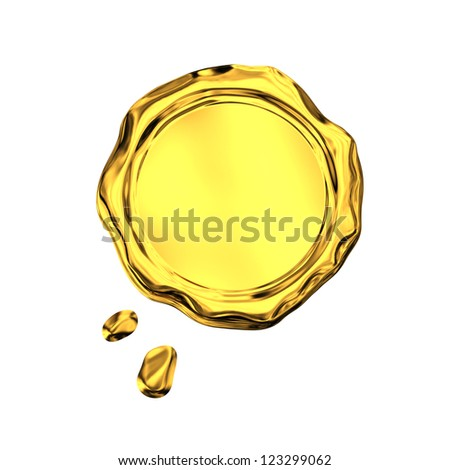 Golden seal wax - isolated on white background