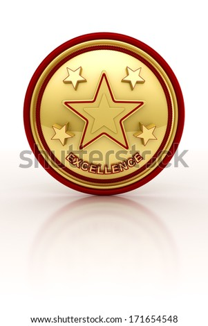 Golden seal with five stars for outstanding excellence