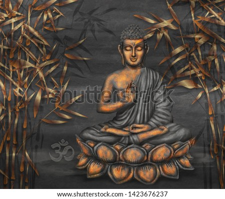 Golden Seated Buddha in a Lotus Pose - digital art collage combined with on dark background and stylized bamboo Stockfoto ©