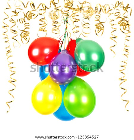 golden serpentine streamer with colorful air balloons on white background. party decoration - stock photo