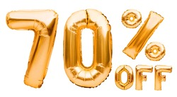 Golden seventy percent sale sign made of inflatable balloons isolated on white. Helium balloons, gold foil numbers. Sale decoration, black friday, discount concept. 10 percent off, advertisement
