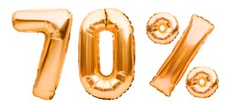 Golden seventy percent sign made of inflatable balloons isolated on white. Helium balloons, gold foil numbers. Sale decoration, black friday, discount concept. 70 percent off, advertisement message.