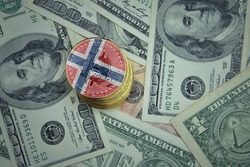 golden shining bitcoins with flag of norway on a dollar money background. bitcoin mining concept.