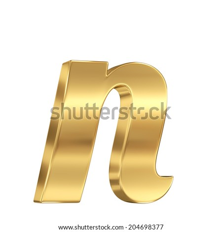 Golden Shining Metallic 3d Symbol Letter N Lowercase Isolated On