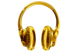 Golden shiny wireless headphones on white background isolated closeup, expensive gold metal bluetooth headset, modern high end wi-fi yellow earphones, audio music symbol, stereo sound electronics sign