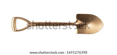 golden shovel isolated on white background Stock fotó ©