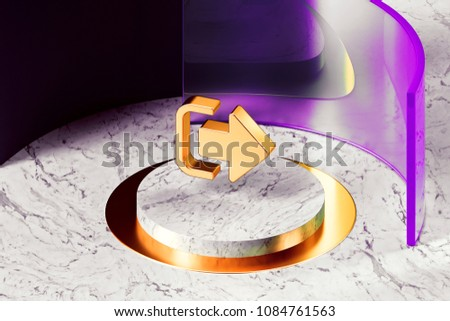 Stock Photo Golden Sign Out Icon With Marble and Pink Glass Around. 3D Illustration of Golden Door, Escape, Exit, Log Out, Outside, Icon Set With Magenta and Pink Glass.