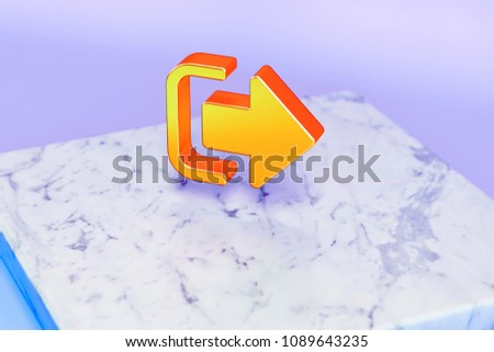 Stock Photo Golden Sign Out Symbol on Blue Background With Marble. 3D Illustration of Golden Door, Escape, Exit, Log Out, Outside, Icon Set in the Blue Light.
