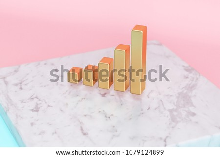 Golden Signal of Music Icon on Pink and Light Blue Color Background . 3D Illustration of Golden Audio, Impulse, Music, Signal, Sound Icon Set on White Marble.
