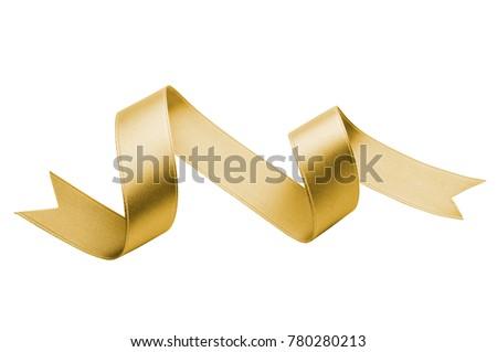 golden silk ribbon isolated