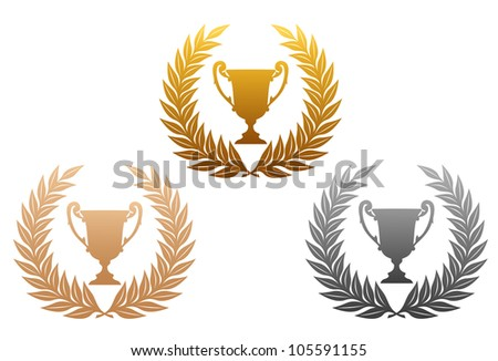 Golden, silver and bronze laurel wreaths with trophy for sports design, such logo. Vector version also available in gallery