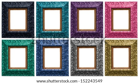 Golden, Silver, Pink, Green, Purple, Turquoise, Graphite, Blue Antique Carved Picture Frames Isolated On White