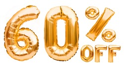 Golden sixty percent sale sign made of inflatable balloons isolated on white. Helium balloons, gold foil numbers. Sale decoration, black friday, discount concept. 60 percent off, advertisement.