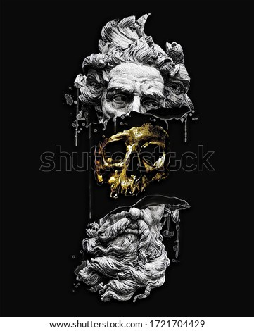 Golden skull illustration. The broken poseidon statue is hidden inside.The art of printing for a t-shirt on a black background. Tattoo design