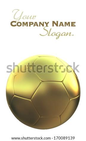 Golden soccer ball against a white background