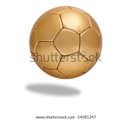 Golden soccer ball in front of white background