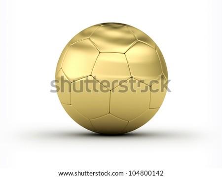 Golden Soccer Ball on white background