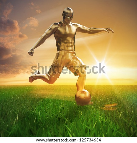 Golden soccer player on field 3D