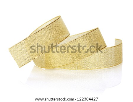 Golden sparkling christmas ribbon. Isolated on white background
