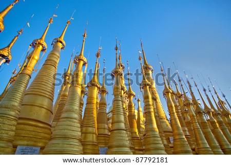 Golden spires at Inn Thein Paya in Shan state, Myanmar