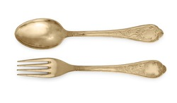 Golden spoon and fork isolated on a white background.