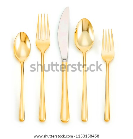 Golden Spoon Set, Antique golden spoon, fork  with knife isolated on white background #1153158458