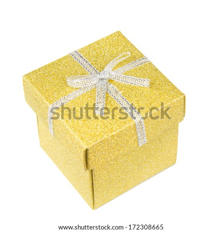 Golden, square, shiny gift box with silver ribbon on white background.