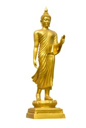 Golden standing Buddha statue isolated on white background with clipping path
