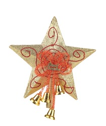 Golden star christmas decoration. Isolated on a white background.