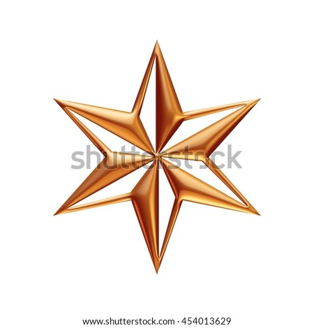 Golden star in 3d rendered on isolated white background. #454013629