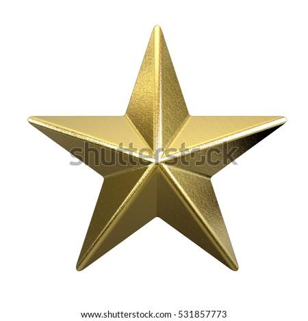 Golden star isolated on white background 3D rendering