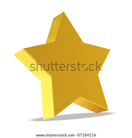 Golden Star on white background