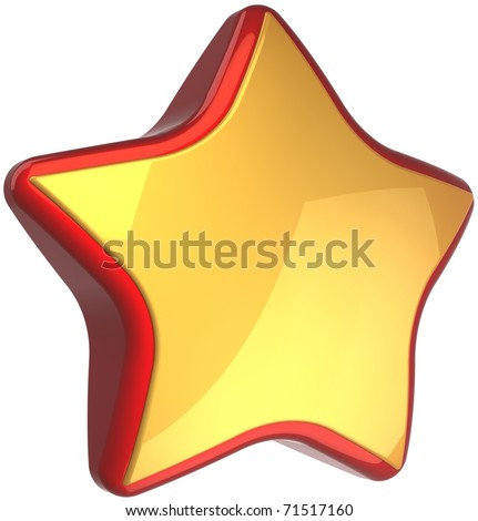 Golden star shape luxury symbol with red border. High quality success winner award symbol. This is a detailed render 3d cgi (Hi-Res). Isolated on white background