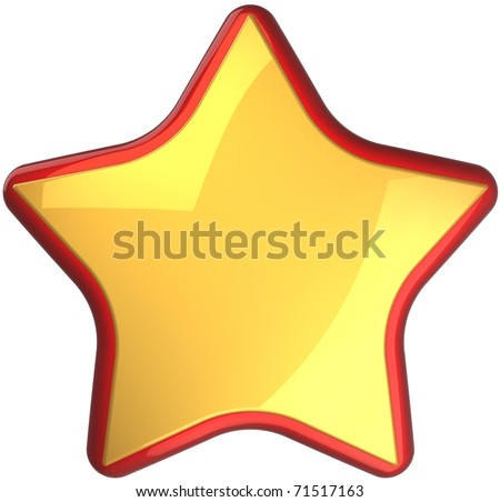 Golden star shape rating symbol with red border. First place victory award symbol. This is a detailed render 3d cgi (Hi-Res). Isolated on white background