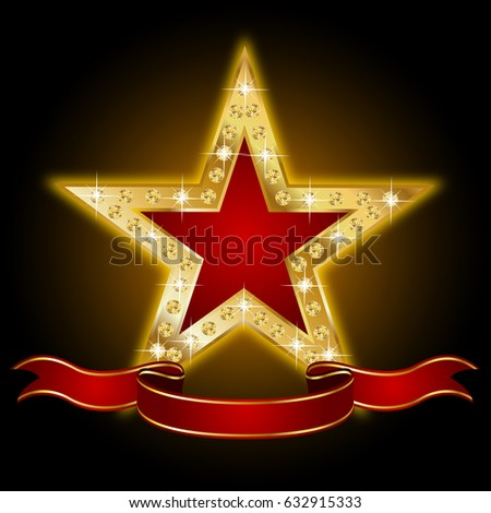 Golden star with ribbon and brilliants #632915333