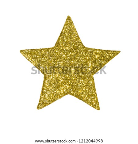 Golden star with sparkles on white background isolated #1212044998