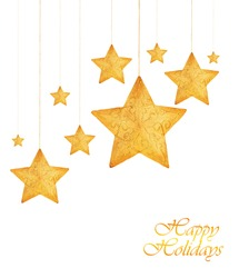 Golden stars, Christmas tree ornaments and holiday decorations isolated on white background