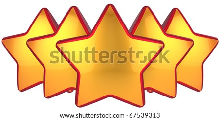 Golden stars. Modern top level rating symbol. Conception of the best choice label. High quality design elements. This is a detailed 3D render. Isolated on white background