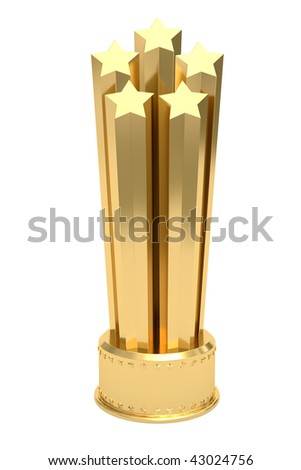 Golden stars prize on pedestal isolated on white. High resolution 3D image