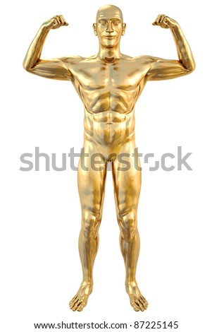 golden statue of athlete. isolated on white.