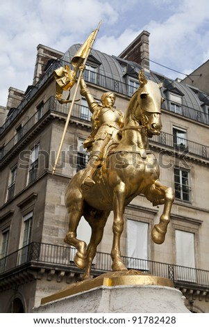 Golden statue of Saint Joan of Arc in Paris - stock photo